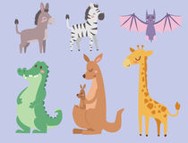 Cute zoo cartoon animals isolated funny wildlife learn cute language and tropical nature safari mammal jungle tall Royalty Free Stock Images