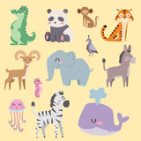 Cute zoo cartoon animals isolated funny wildlife learn cute language and tropical nature safari mammal jungle tall Stock Photos