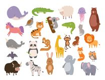 Cute zoo cartoon animals isolated funny wildlife learn cute language and tropical nature safari mammal jungle tall. Characters illustration. Nature wild study royalty free illustration