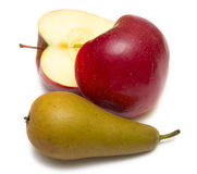 Cuted apple and pear Stock Image