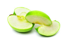 Cuted green apple on white Stock Image