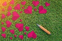 Cuted paper hearts on the grass Stock Image