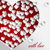 Cuted red heart with love. Big red heart vector illustration and white small hearts on white background for valentines day or women day greeting card, paper cut vector illustration