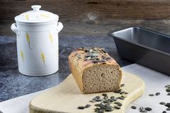Cuted Rye leaven bread with pumpkin seeds royalty free stock images