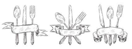 Cutelaria com fita Tabela do vintage que ajusta a gravura, a ilustração tirada mão do vetor do esboço da colher da forquilha, da  ilustração do vetor