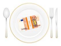 Cutelaria da placa e cinqüênta euro- blocos Imagem de Stock
