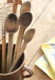 Cutelaria de madeira velha Imagem de Stock