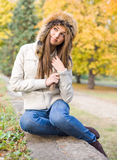 Cuteness in fur hat. Stock Image