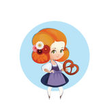 Cuter Girl  with pretzel in dirndl Royalty Free Stock Photos