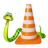 CuteSnake cartoon character with construction cone Stock Images