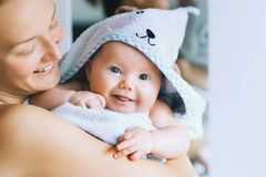 Cutest baby after bath with towel on head. Royalty Free Stock Photos