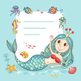 Cutest card with the mermaid princess Stock Photo
