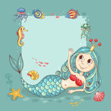 Cutest card with the mermaid princess Royalty Free Stock Photo