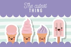 The cutest thing poster with ice creams cones and ice cream palette over lines colorful background. Vector illustration Royalty Free Stock Photo