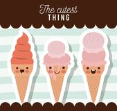 The cutest thing poster with ice creams cones over lines colorful background. Vector illustration Royalty Free Stock Photos
