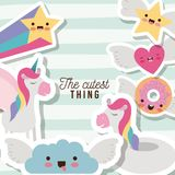 The cutest thing poster with unicorns rainbows stars cloud heart and donut with wings and colorful lines background. Vector illustration Royalty Free Stock Photography