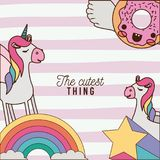 The cutest thing poster with unicorns rainbows stars and donut with wings and colorful lines background. Vector illustration Stock Images