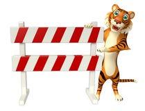 CuteTiger cartoon character with baracade Stock Images