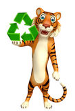 CuteTiger cartoon character with recycle sign Royalty Free Stock Photos