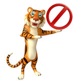 CuteTiger cartoon character with stop sign Stock Images