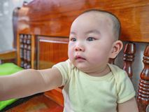 Cutie和英俊的亚裔男孩画象照片  库存图片