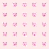 Cutie猪和折叠的耳朵有桃红色背景 瓦片背景 向量 例证 基本红色青绿 免版税库存图片