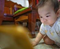 Cutie behandla som ett barn den asiatiska mannen mycket allvarligt och blick på minnestavlan royaltyfri fotografi