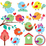 Cutie birds clip art set Royalty Free Stock Images