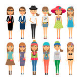 Cutie cartoon fashion girls in colorful clothes. Girl dressed in a variety of different outfits. Cutie cartoon fashion girls in colorful clothes. Vector Stock Photography