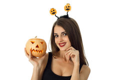 Cutie cheerful girl in halloween style clothes Royalty Free Stock Images