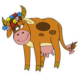 Cutie cow. With flower's diadem and bow Stock Photography
