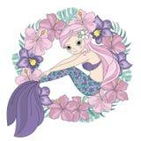 CUTIE-de Illustratiereeks van Wreath Tropical Vector van de Meerminprinses vector illustratie