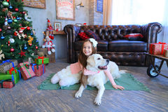 Cutie dziewczyny dziecka uśmiechnięty i siedzący przytulenie z psem w studiu Obraz Stock
