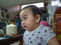 Cutie and handsome asian boy baby or infant. Cutie and Fat asian boy infant royalty free stock photography