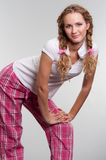 Cutie girl in pyjamas. Cutie girl in pink pyjamas Stock Photos