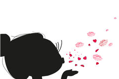 Cutie girl sending kiss and heart vector Royalty Free Stock Images