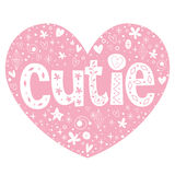 Cutie heart shaped lettering design Royalty Free Stock Image