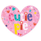 Cutie pie heart shaped lettering design Royalty Free Stock Image