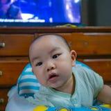 Cutie, przystojny azjatykci chłopiec dziecko i niemowlak lub fotografia stock