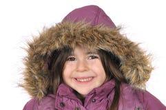 Cutie-ritratto di inverno di una ragazza in un cappuccio Fotografia Stock