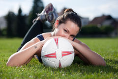 Cutie with a soccer ball Royalty Free Stock Photography