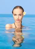 Cutie in the swiming pool. Cute blond girl relaxing in swimming pool Royalty Free Stock Photos