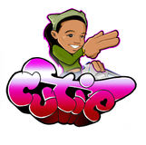 Cutie Urban Girl Graffiti with bgirl. Bgirl hip hop graffiti style art that syays cutie Stock Images