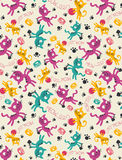 Cutie Yellow purple blue cat pattern Royalty Free Stock Photo