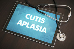 Cutis aplasia (cutaneous disease) diagnosis medical concept on t. Ablet screen with stethoscope Stock Photos