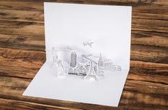 Cutl de papel (Japón, Francia, Italia, Nueva York, la India, Egipto) Imágenes de archivo libres de regalías