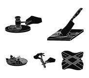 Cutlass on a cutting board, hammer for chops, cooking bacon, eating fish and vegetables. Eating and cooking set. Collection icons in black style vector symbol Stock Images