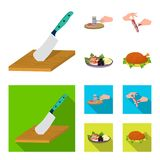 Cutlass on a cutting board, hammer for chops, cooking bacon, eating fish and vegetables. Eating and cooking set. Collection icons in cartoon,flat style vector Royalty Free Stock Photos