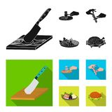 Cutlass on a cutting board, hammer for chops, cooking bacon, eating fish and vegetables. Eating and cooking set. Collection icons in black, flat style vector Stock Photos