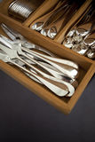 Cutlery. Silver cutlery in a drawer Royalty Free Stock Photography
